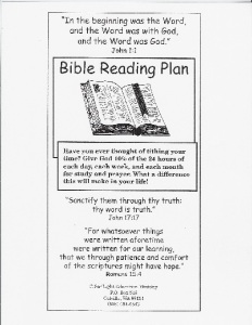 One-Year Bible Reading Plan – SonLight Education Ministry